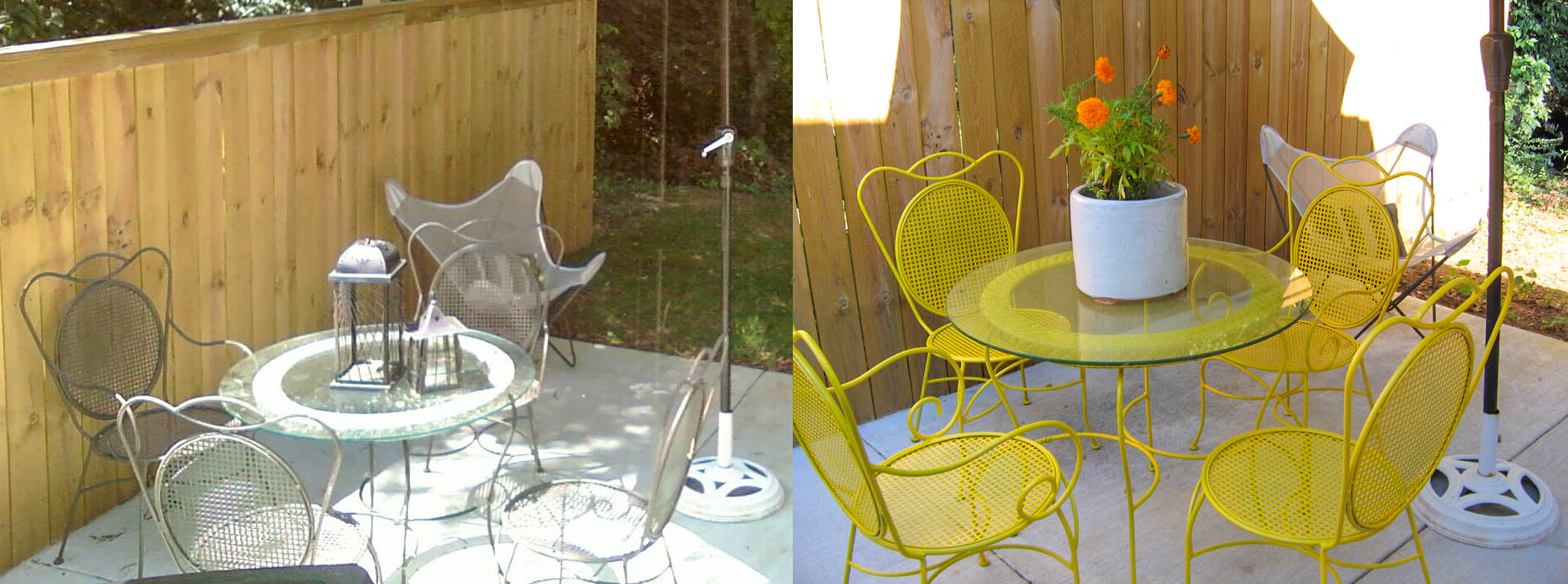 yellow patio furniture. Before \u0026 After Patio Set Yellow Furniture